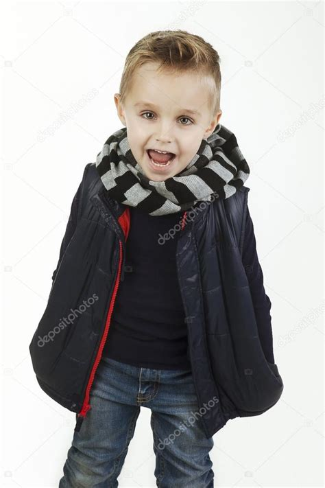 St Justine Vest Kid child fashionable boy in black shirt woolen striped muffler and and padded