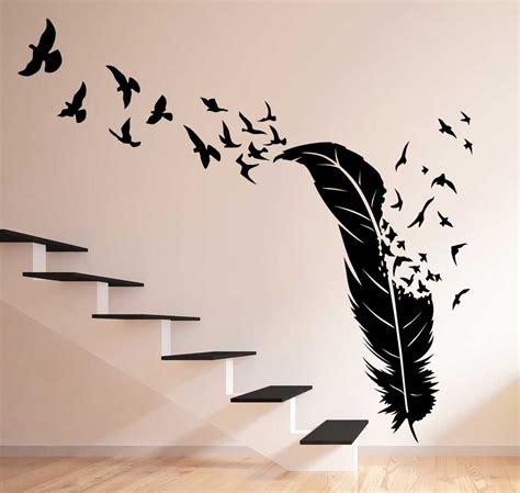 Floral Wall Stickers birds flying out of feather wall decal feather birds