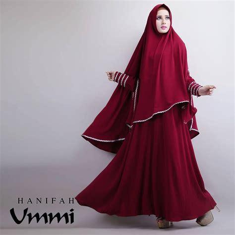Gamis Syar I Cantik Modern Farida Maroon hanifah maroon baju muslim gamis modern