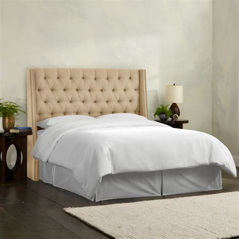 nail button tufted wingback headboard linen sandstone full nail button tufted wingback headboard
