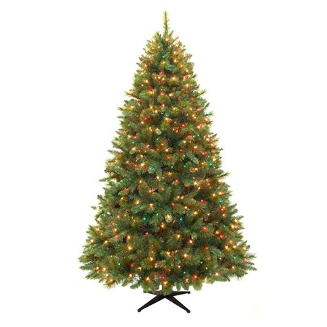 pre lit trees with clear and multi lights 7 5 ft pre lit scotch pine artificial tree with
