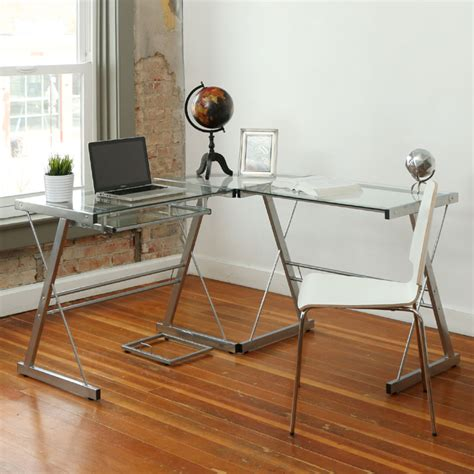 walker edison 3 contemporary desk silver with clear