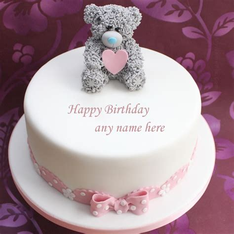 write    happy birthday cute teddy bear cake pic