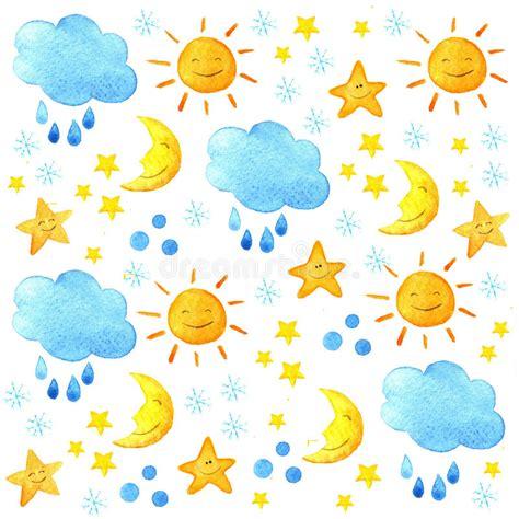 cute handpainted pattern weather watercolor pattern cute smiling sun moon star