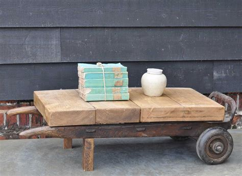 Vintage Industrial Wheeled Coffee Table Small Home Barn Wheeled Coffee Table