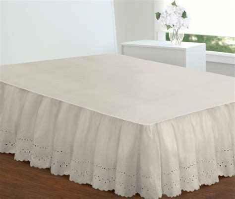 extra long full size bed extra long ivory bed skirt full size 18 inch drop eyelet