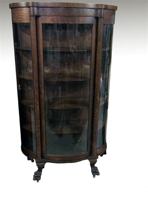 17518 Antique Oak Triple Curved Glass Claw Foot China Cabinet ? Haute Juice