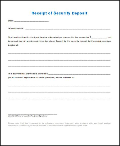 rental security deposit receipt template 39 free receipt forms sle templates