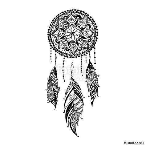 """""""Hand drawn mandala dreamcatcher with feathers. Ethnic"""