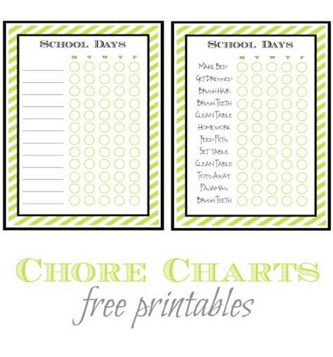 printable home organizing charts free printable chore charts printable chore chart and
