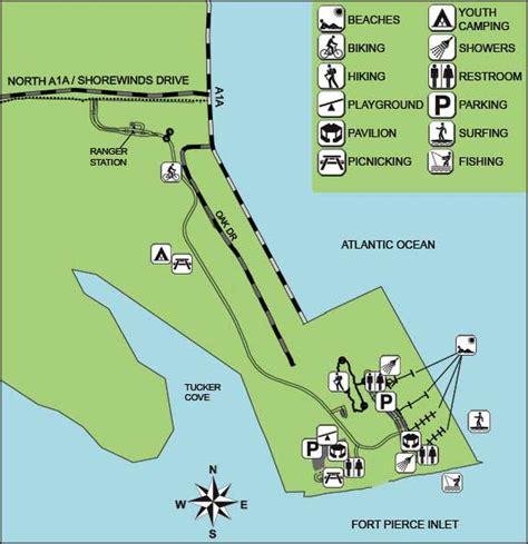 florida state parks map fort inlet state park florida state parks