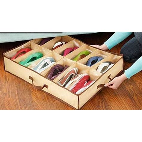 shoes storage box non woven fabric waterproof folding shoe holder 12 pcs