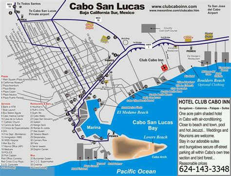 map of cabo san lucas club cabo inn cabo san lucas map and activities