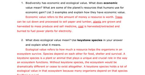 What Is A Keystone Species Worksheet Answers