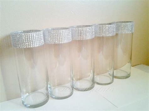 Bling Wrap For Vases by Glass Cylinder Vases Bling Wedding Centerpieces Silver Rhinesto Aftcra