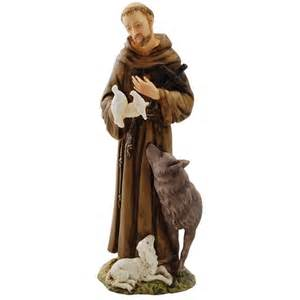st francis alabaster statue w wolf 6 inches the