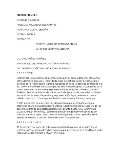 formato de jurisdiccion voluntaria para acreditar demanda agraria