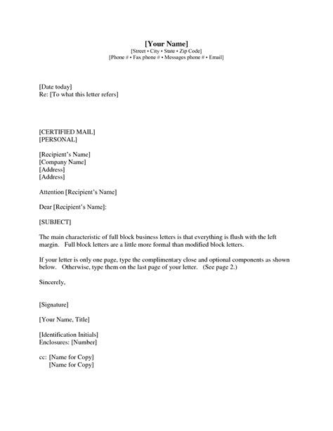 sle business letter format with re line cover letter templates