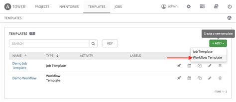 Getting Started Workflow Job Templates Ansible Tower Workflow Template
