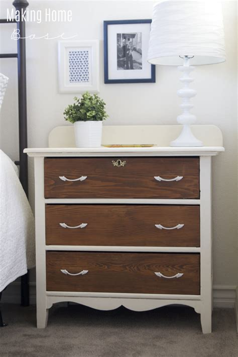 two tone dresser bedroom furniture two toned nightstand white and wood