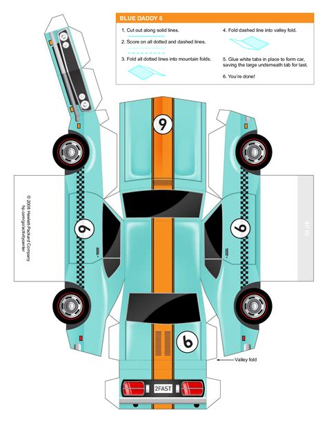8 best images of printable 3d cars paper crafts templates