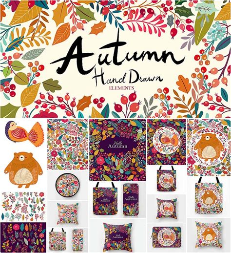 cute pattern set autumn cute pattern and illustration set free download