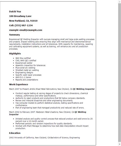 Resume Job Objective Samples by Professional Qc Welding Inspector Templates To Showcase