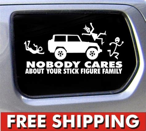 jeep bumper stickers stick figure jeep family nobody cares truck funny stickers