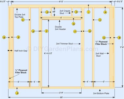 gable shed plans front wall frame framing construction