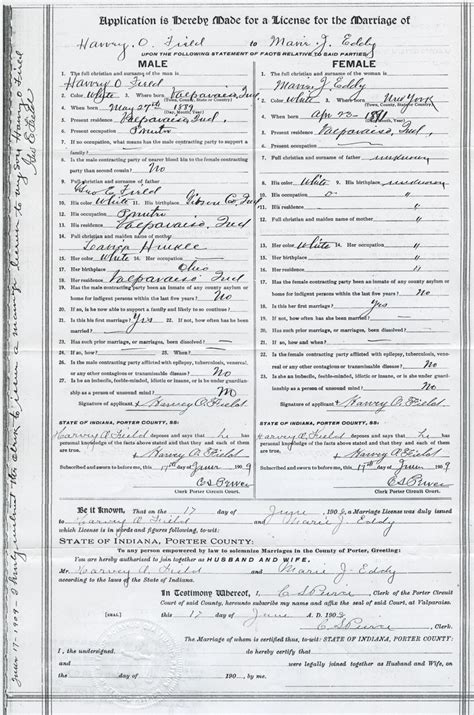 My Indiana Court Records Harvey O Field And J Eddy Marriage License Application