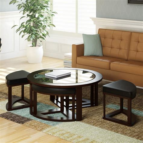 living room table with stools amazon com corliving lbg 599 k belgrove stained coffee table with 4 stools dark espresso
