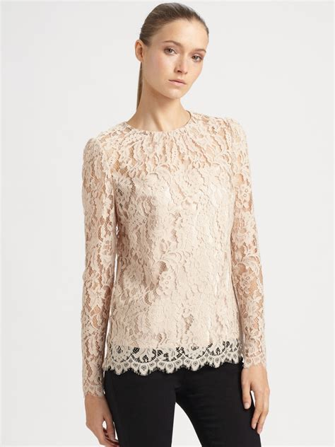 lace top milly lace top in beige ballet lyst