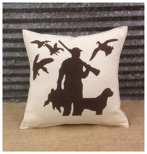 duck hunting home decor decorative pillow with a hunter with his dog and ducks