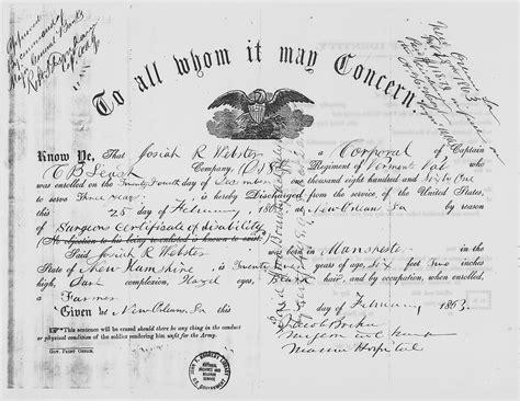 cold war service certificate massgov file josiah webster civil war discharge certificate