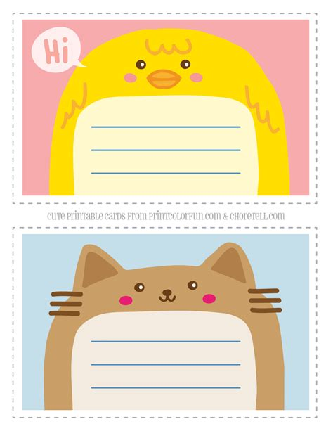 how to make printable note cards adorable animal thank you notecards for kids free