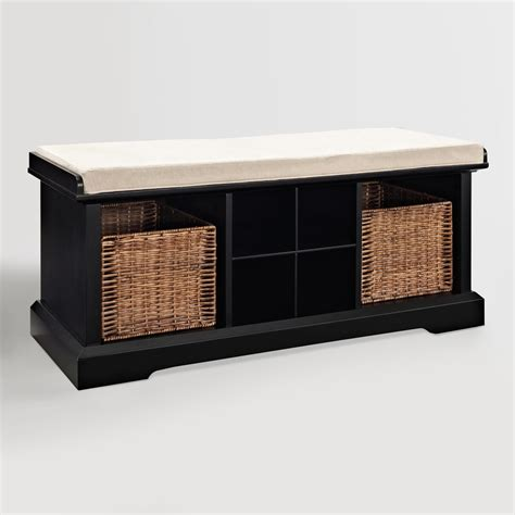 Black Storage Bench Black Wood Emlyn Entryway Storage Bench World Market