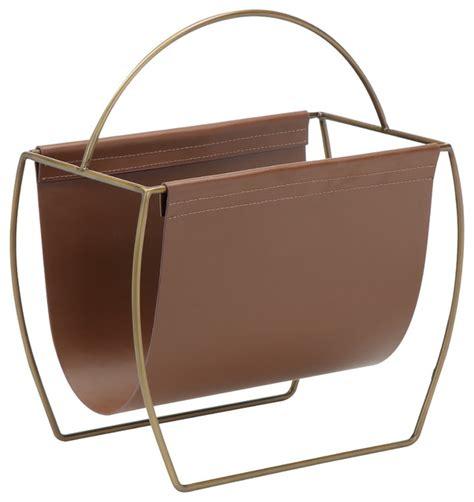 Woven Leather Rugs Shop Houzz Pangea Home Blake Magazine Rack Brown