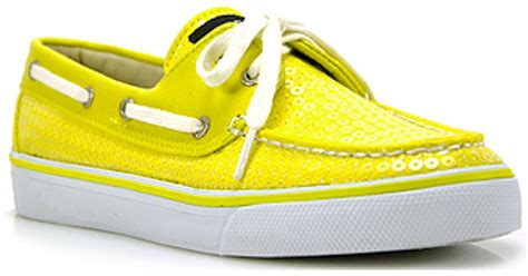 yellow sperry boat shoes lyst sperry top sider bahama yellow sequin boat shoe in