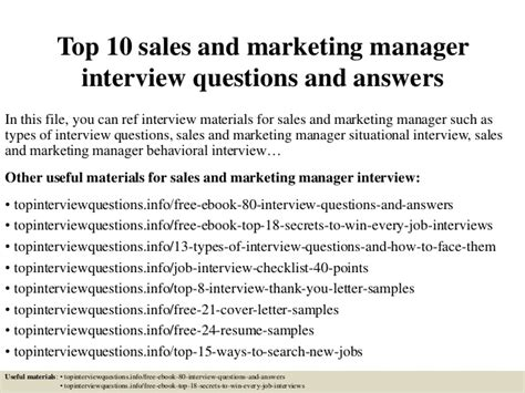 top 10 sales and marketing manager questions and