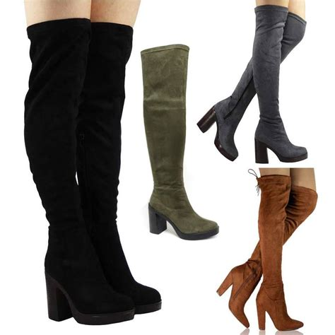 high heeled the knee boots new womens black thigh the knee high heel