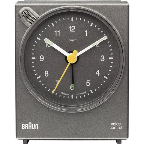 braun bnc004 grey square voice activated alarm clock