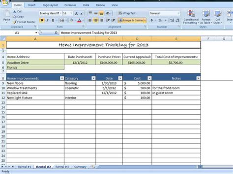 home improvement tracking template in excel by