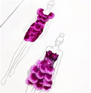 Diy Fabric Flower - creative fashion design sketches using real flower petals
