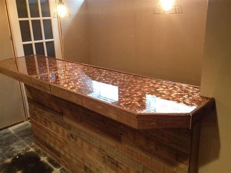 penny bar top diy pallet face with penny and epoxy bar top basement ideas