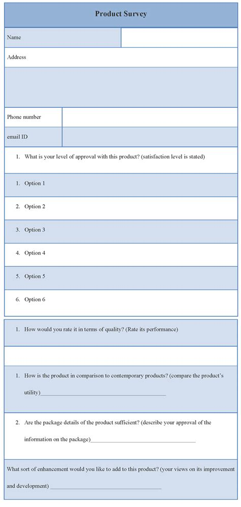 product evaluation template survey template for product sle of product survey