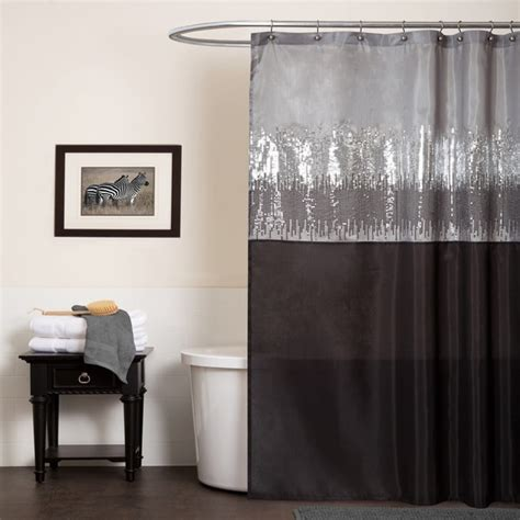 black and gray shower curtain lush decor night sky black grey shower curtain