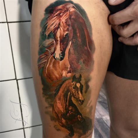 tattoo 3d horse realistic horses on girls thigh best tattoo ideas designs