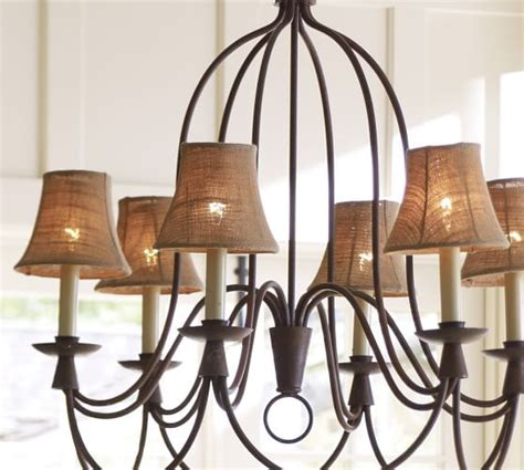 chandelier l shades pottery barn mini burlap chandelier shade set of 3 pottery barn