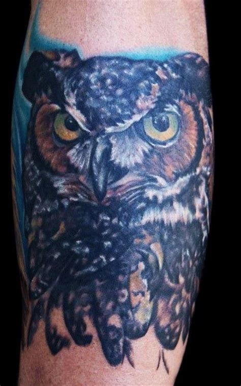 horned owl tattoo great horned owl chest