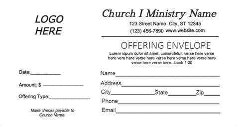 Gallery Church Offering Envelopes Templates Free